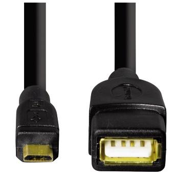 HAMA - câble USB 2.0 OTG - USB A Femelle - Micro USB Mâle - plaqué Or 24k-4285